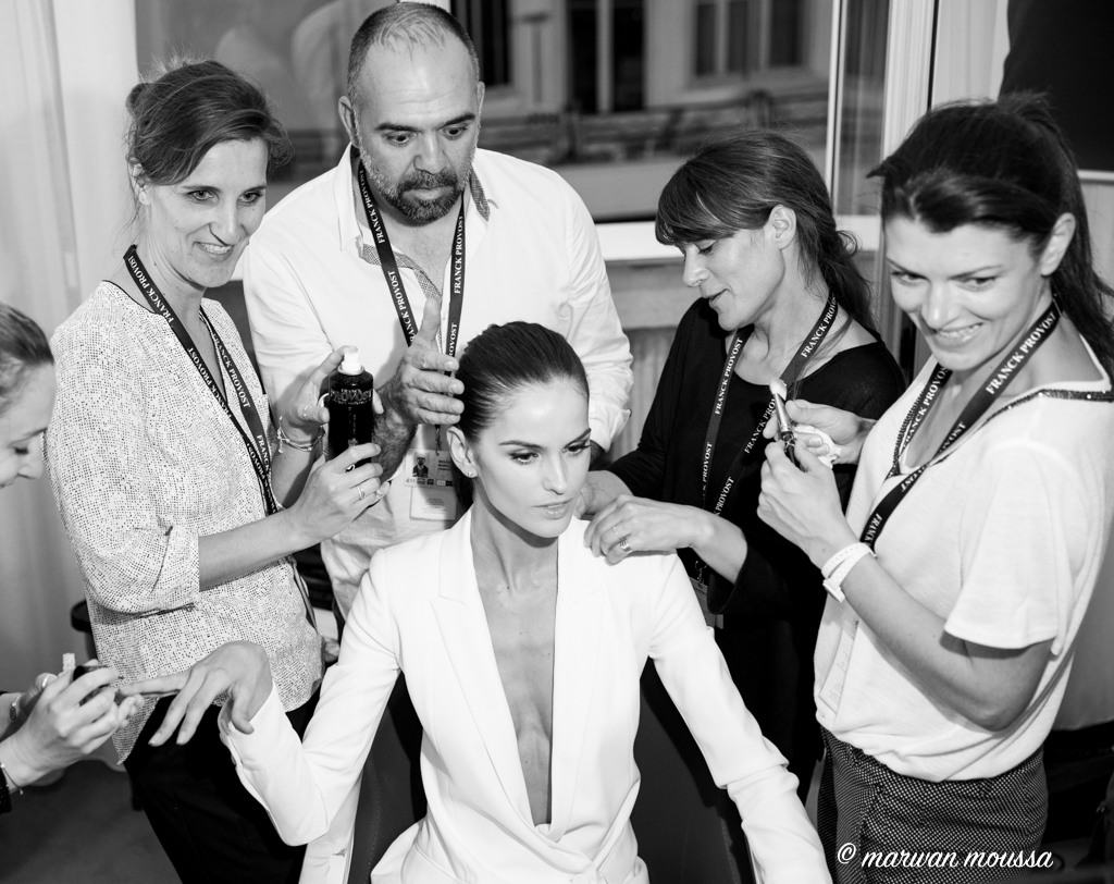 photo : marwan moussa Izabel Goulart TOP MODEL avec l'equipe studio Franck Provost a Cannes