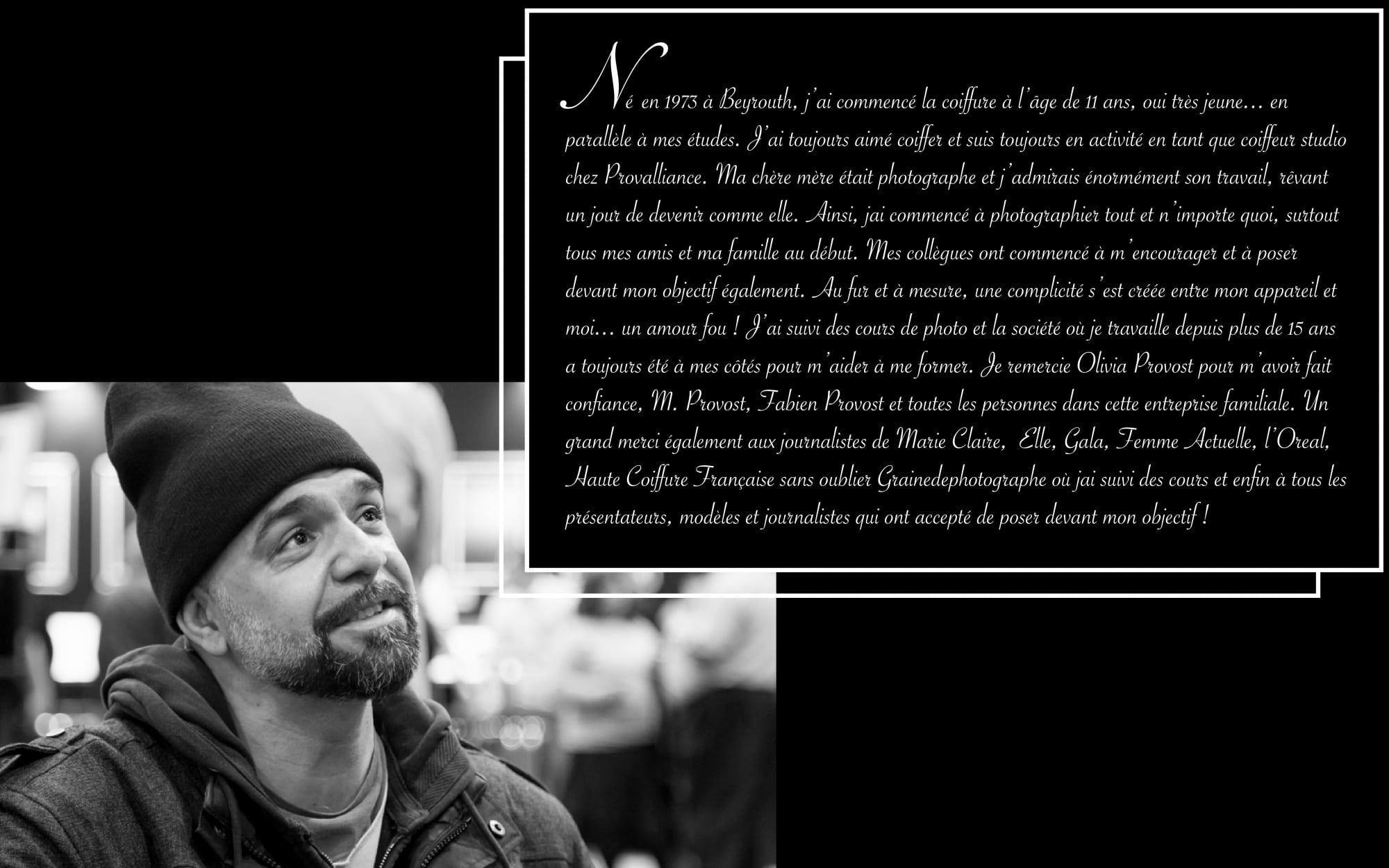 Marwan Moussa est un photographe mode, portrait et événementiel libanais basé à Paris. Egalement coiffeur, il couvre de nombreux événements coiffure. https://marwanmoussa.com